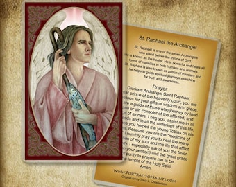 St. Raphael the Archangel Holy Card or Wood Magnet  #0160