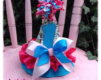 SALE. 1st Birthday Hat. Girl.  Photo Prop/ Keepsake.  Pink, Turquoise and Vintage Floral Leopard. Ready to ship.