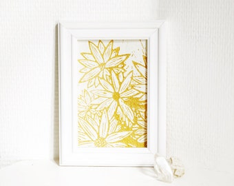 Golden flowers 2 - linocut print with gold ink