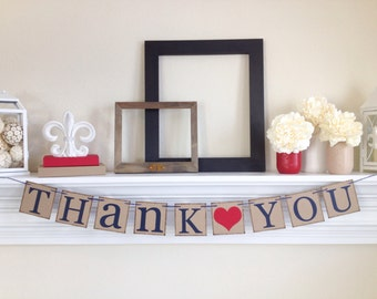 Thank You Sign - Rustic Wedding Banner Photo Prop - Wedding Sign - Red & Navy Wedding Decoration