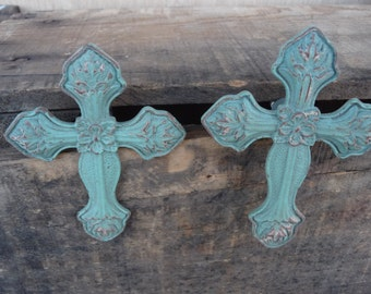 Rustic Distressed Teal / Aqua CROSS Knobs - Drawer Pulls - Cabinet - Cast Iron ~ Home Decor ~ Old World ~ Ornate ~ Victorian