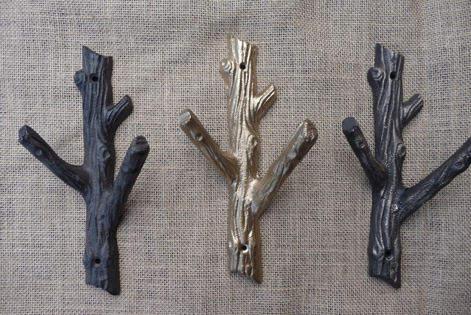 Rustic tree branch wall hook cast iron metal or gold coat Hooks for the wall