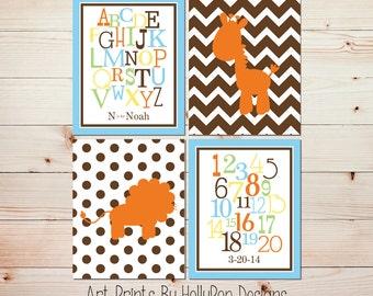 Baby Boy Nursery Wall Decor Art Prints Safari Nursery Blue, Yellow, Green, Chevron, Polka Dots Alphabet Number Nursery Personalized #0646