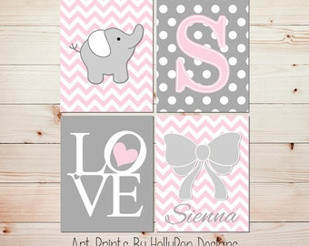 Nursery Decor Baby Girl Nursery Wall Decor Monogram Print Pink Gray Elephant Nursery Personalized Nursery Decor Nursery Art Prints LOVE 0828
