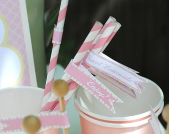 Pink Lemonade Party Straw Flags - Summer Party Flags - Lemonade Stand Straw Flags - INSTANT DOWNLOAD