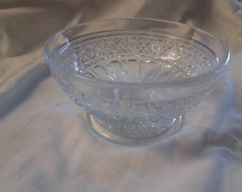 On Sale Pressed Glass Footed Serving Dish with Sunburst Pattern Home Decor