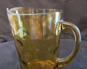 "Vintage Antique Amber thumbprint glass pitcher holds 70oz 8"" tall 7.5"" wide 4.5"" deep Excellent condition"