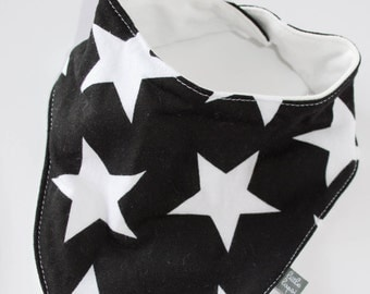 Black with white star baby bib. bandana Scarf. drool bib. Fits infant to toddlers