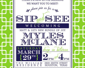 Sip and See Boy Baby Shower Invitation