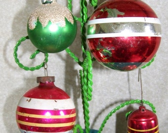 Vintage Christmas Bell and Ball ornaments 1950 set of 4