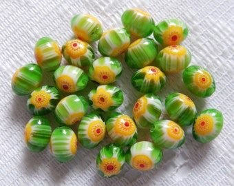 26  Green Yellow Red & White Oval Millefiori Flower Lampwork Glass Beads  8mm x 6mm