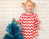 Toddler Chevron Christmas Dress Girls Red Dress Sister Dress Baby Christmas Clothes Boutique Clothing By Lucky Lizzy's - LuckyLizzys