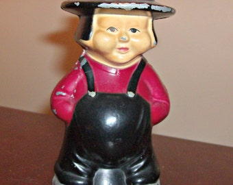 Vintage Amish Man Cast Iron Metal Bank