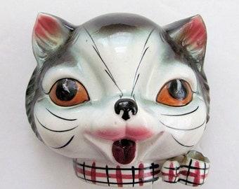 Wonderful Vintage Ceramic  Gray  CAT STRING HOLDER w/ Scissors Holder  1940's