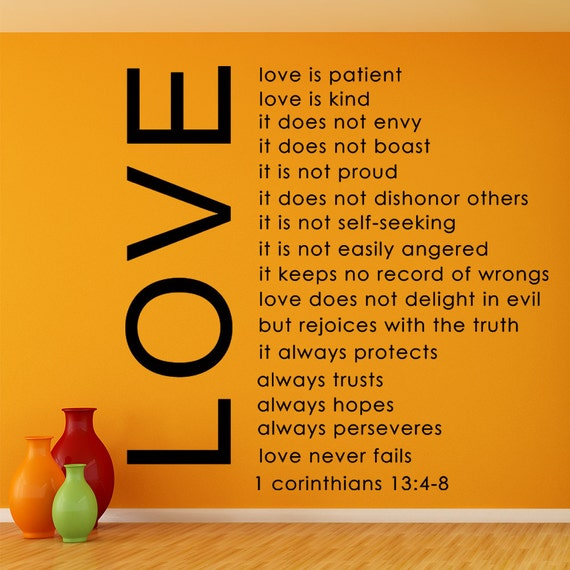 Love Is Patient Love Is Kind Quote: Love Is Patient Love Is Kind Bible Quote Removable By