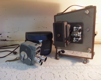 Vintage Keystone Electric Eye Movie Camera and Keystone Sixty Projector and Case  BC01