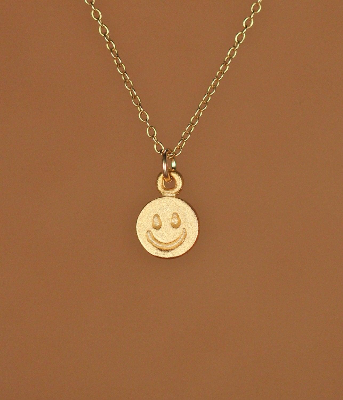 happy necklace smiley necklace gold happy