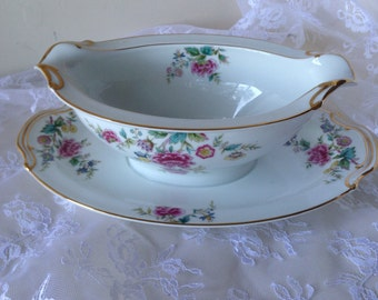 Vintage Noritake Peony Gravy Boat With Gorgeous Gold Trim And Beautiful Pink Blue and Yellow Flowers