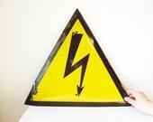 Enamel Sign, Large Yellow Danger Sign, Vintage Heavy Metal Arrow Sign, 15in Garage Decor, USSR Soviet Memorabilia with Dent