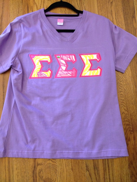 tri sigma v neck letter shirt with lilly pulitzer fabric that With tri sigma letter shirts