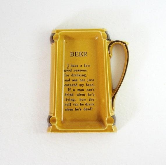 Vintage Beer Mug Ceramic Ashtray Amber Beer Home Decor