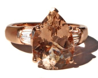 Spectacular Large Round Morganite Amp Diamond 14k By