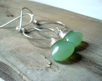 Mint Green Metalworked Hoop Earrings Grayed Jade Sterling Silver Summer Jewelry Jadeite Green Artisan Jewelry Gifts Under 50
