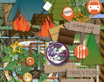 Camp On: Instant Download, Digital Scrapbook Kit, Digital Papers, Papers Pack, Clip Art,  PNG Images, Digital or Traditional Scrapbooking