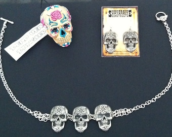 Mexican Sugar skull necklace / Earrings / Dangler SPECIAL OFFER