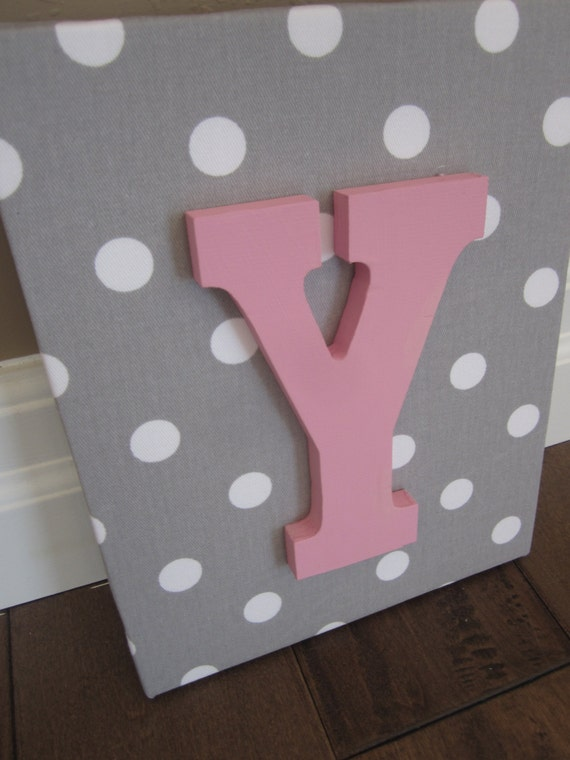 Wall Canvas Letters, Nursery Decor, Nursery Letters, Wooden Letters, Personalized, Nursery Art, Grey and White Polka Dots