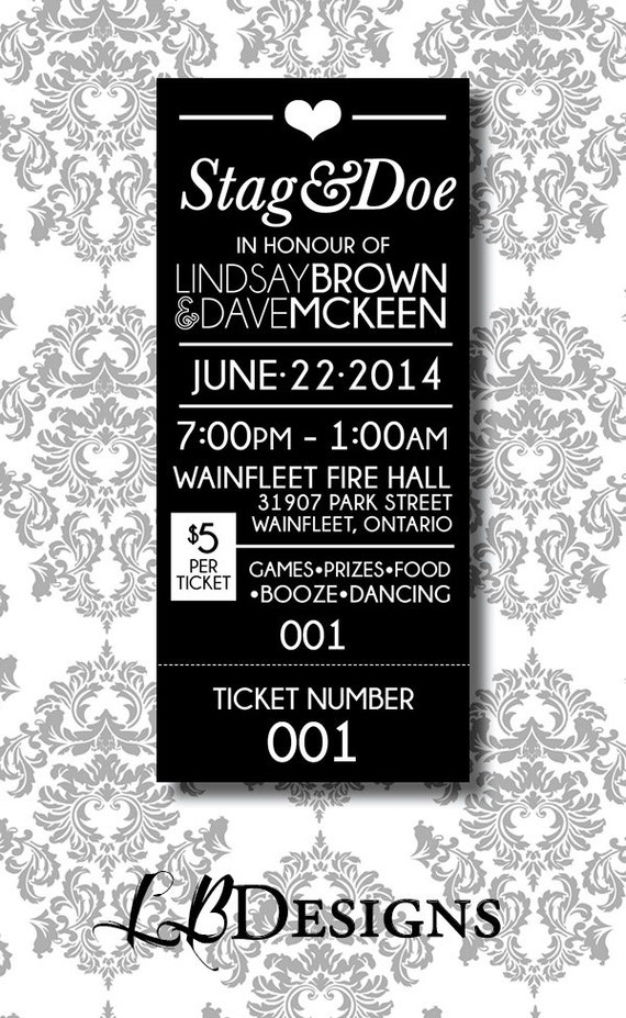 Stag doe ticket simple tear ticket by lindsaybrowndesigns for Jack and jill ticket templates