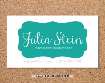 Business Card Template - Teal Frame-  DIY Editable Word Template, Instant Download, Printable