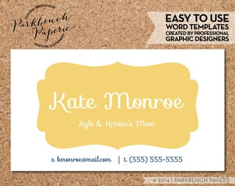 Business Card Template - Sunshine Frame -  DIY Editable Word Template, Instant Download, Printable