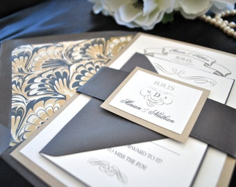 Art Deco Charcoal Grey and Gold wedding Invitation (NOT A SAMPLE LISTING)