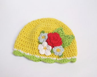 Baby Girl Spring hat, Girls suns hats, Baby Girls Hat, Yellow baby hat, Cotton hat, Spring Crochet Hat, 3 months, READY TO SHIP