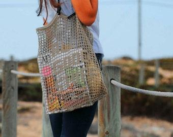 BEIGE TOTE BAG // Crochet Tote Bag with message or name written on/ Handmade Unique Bag Designer Shoulder handles