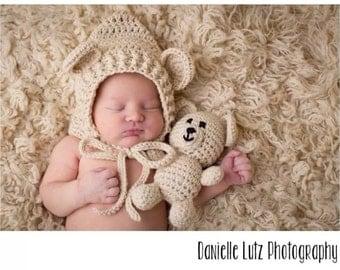 Crocheted Teddy Bear Hat with Baby Bear Set