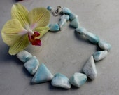 Rough Faceted Larimar Nugget Bead Necklace