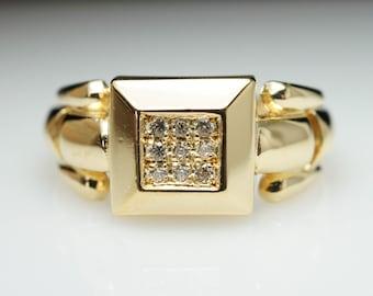 SALE- Vintage Estate Diamond Square Block 18k Yellow Gold Ring - Size 6