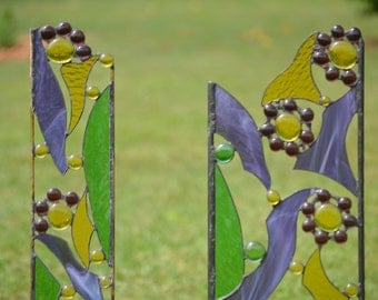 Stained Glass Garden Sculptures, Yard Art in Pairs for your Outdoor Decor,  Custom Stained Glass Garden Ornaments 'Fanciful Garden Flowers""