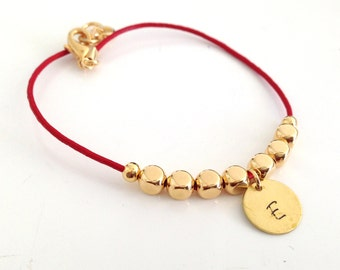 Personalized Leather Bracelet with Gold Nuggets - Available in 10 colors