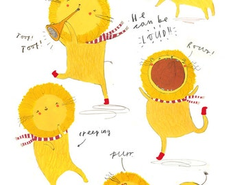 A4 Lion Print