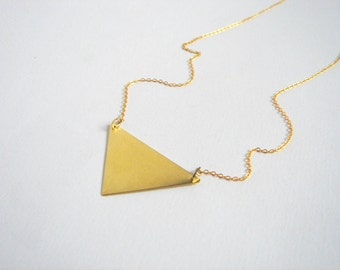 Minimalist Brass  Necklace,Brass Triangle Necklace