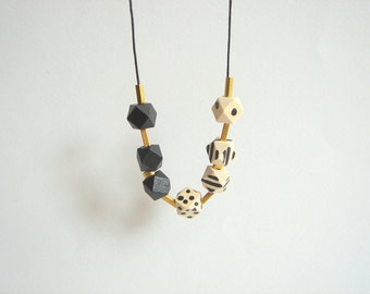 Geometric Necklace ,Black and White Faceted  Wood Geometric Necklace,Geometric Jewelry
