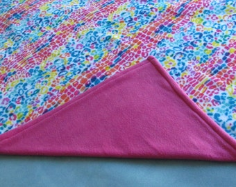 Bright Confetti Print, Pink Backed, Double Layer Fleece Blanket
