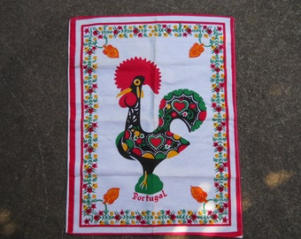 Rooster Tea Towel from Portugal,  Vintage Linens, & Cotton, A.K.A. Good Luck Towel, 1980's.