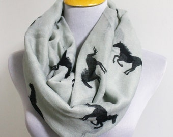 Horse Infinity Scarf, Gray Horse Scarf, Running Horse Loop Scarf, Scarves, Fall Scarf, Soft and Chunky Scarf, Large Scarf, Christmas Gift