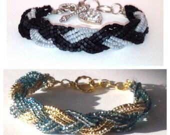 Braided Bracelet, Glass Beaded