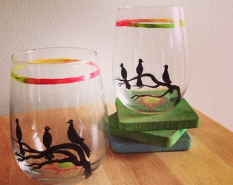 Hand painted stemless wine glasses, Three Little Birds.