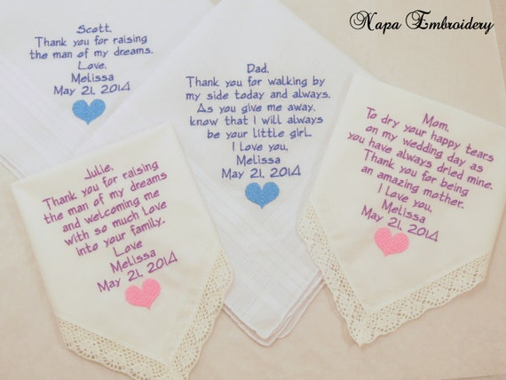 Wedding Gift For Granddaughter : Wedding Gifts for Family Set 4 Four Embroidered Handkerchiefs for Mom ...